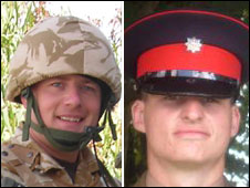 Cpl Darren Bonner, left, and Private Chris Gray