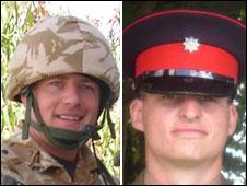 Cpl Darren Bonner, left, and Private Chris Gray