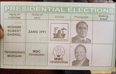 Zimbabwe presidential elections ballot paper
