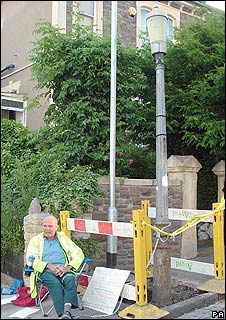 David Cemlyn locked to a beloved lamp-post