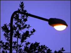 Modern street light at dusk