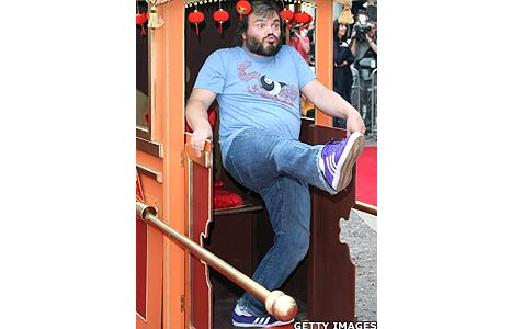 Film star Jack Black at the London premiere of hit comedy Kung Fu Panda