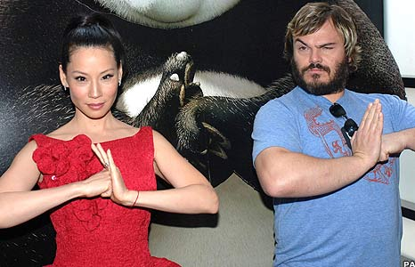 Film stars Lucy Liu and Jack Black at the London premiere of hit comedy Kung Fu Panda