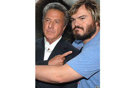 Film stars Dustin Hoffman and Jack Black at the London premiere of hit comedy Kung Fu Panda