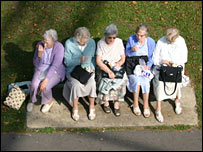 A group of female pensioners sitting on a bench