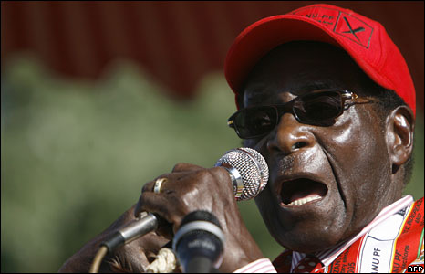 President Robert Mugabe at his final campaign rally in Harare, 26 June 2008