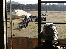Voters at a polling station in Harare