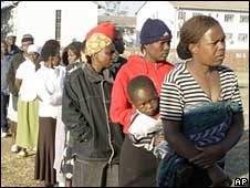 A line of voters in Harare