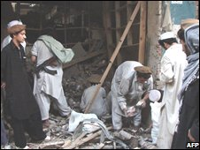 A music shop destroyed by militants in North Waziristan