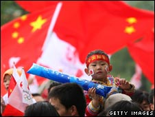 Chinese boy at Olympic torch relay