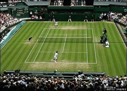 Federer in action on Centre Court