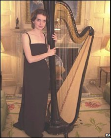 Catrin Finch and a harp