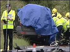Scene of the B4066 crash
