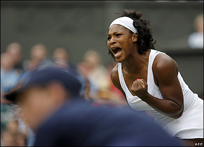 Serena Williams shows her joy at winning a point