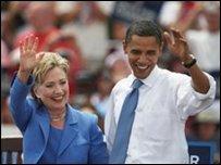 أوباما وهيلاري معا في بلدة يونيتي 27-06-2008