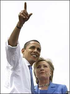 Barack Obama and Hillary Clinton at a joint rally in Unity, New Hampshire, 27 June 2008