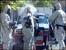 Hazardous materials workers outside Capitol Hill in Washington DC during the anthrax attacks in 2001