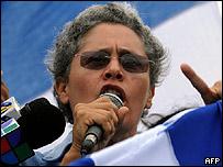 Dora maría Tellez, ex guerrillera y dirigente de la oposición nicaragüense