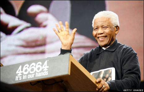 Former South African president Nelson Mandela was joined by celebrities at a concert in London's Hyde Park to celebrate his 90th birthday and promote his HIV/Aids charity, 46664. [Source: BBC News]