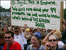 A placard at Glastonbury