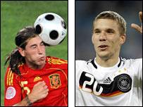 Sergio Ramos and Lukas Podolski