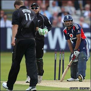 Ravi Bopara is bowled