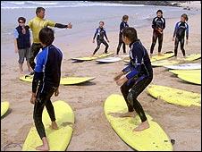 Children being taught surfing. Picture: Chernobyl Children Life Line