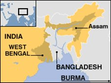 West Bengal and Assam map