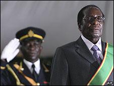 Robert Mugabe is sworn in as president