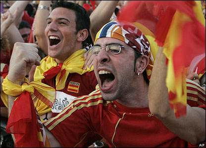 Spanish fans celebrate in Madrid