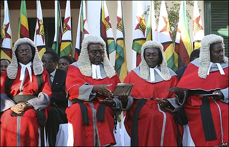 High court judges attend President Robert Mugabe's inauguration ceremony in Harare