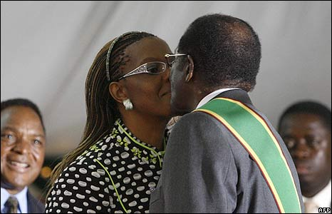 Robert Mugabe's wife, Grace, congratulates him on his new term as president