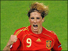 Fernando Torres celebrates after scoring Spain's winner against Germany