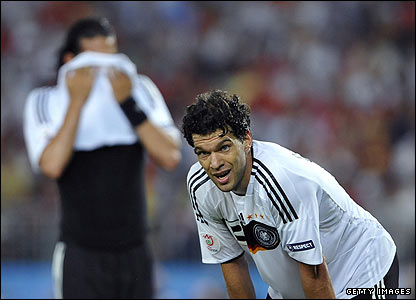 Ballack shows his disappointment