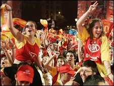 Spanish fans celebrate win in Madrid