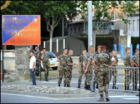 Troops outside parachute regiment barracks