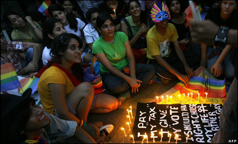 "A  candlelight vigil after a ""Queer Pride March"" in Delhi on June 29, 2008"