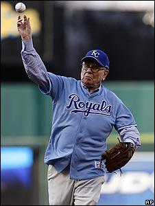 Warren Buffett throws the first pitch at a recent Texas Rangers baseball game