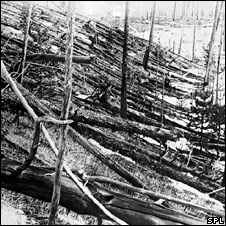 Photograph of fallen trees taken during Leonid Kulik's expedition of 1927 (SPL)