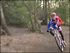 Mountain biker at Weald country park, Essex