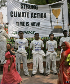 A Greenpeace rally on climate change
