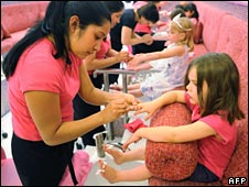 Five-year-old girls at a New York nail bar