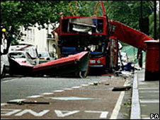 Bus wreckage in Tavistock Square