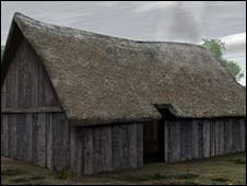 Picture of how the Neolithic house is thought to have looked