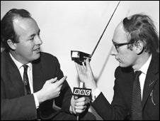 Clive Sinclair holding one of his firms products - a TV set which can receive up to 13 channels on a two-inch screen. For a programme in the BBC World Service series, 'The Young Idea', Gordon Snell (
