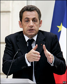 Nicolas Sarkozy at the Elysee Palace, pictured 25 June