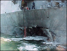 Damage to USS Cole in 2000 attack (pic: US Navy)