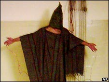Image of mock electrocution which emerged from Abu Ghraib, 2003