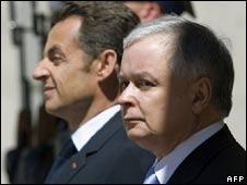 French President Nicolas Sarkozy (L) and Polish President Lech Kaczynski  - 28/5/08