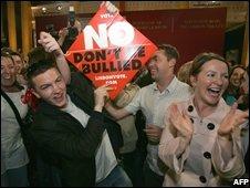 No voters celebrate in Dublin (file image)